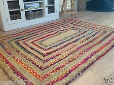 GORGEOUS BORDER STRIPE RUG NATURAL JUTE & MULTI COLOURED FABRIC - 90cm x 150cm