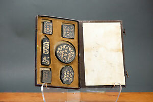 Antique ca 1900-1930 Chinese Calligraphy Ink Stones in Box Great Condition