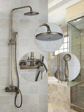 Wall Mounted Antique Brass Bathroom Rainfall Shower Faucet Bathtub Mixer Tap Set