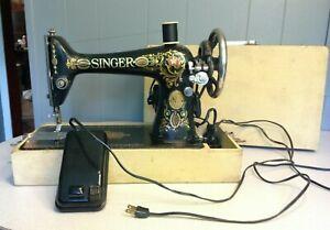 Vintage 1911 Singer Model 66 Red Eye sewing machine, working, Free Shipping!