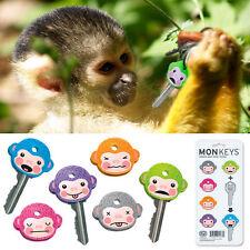 6 Fred Friends Cute Monkey Cool Chimp Key Ring Cap Covers Six Color Keychain Set