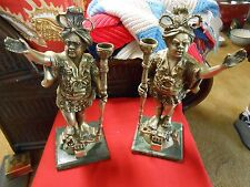 Vintage 2 ITALIAN Statues-Candle Holders ... Copper Brass-Nickel Silver Overlay