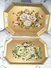 2 Hand Painted Vintage Mid Century Designer Tole Trays - White Roses & Hydrangea