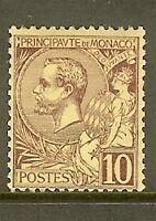 "MONACO STAMP TIMBRE N° 14 "" PRINCE ALBERT 1er 10c LILAS-BRUN "" NEUF xx TTB"