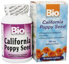 Bio Nutrition California Poppy Seed 500 mg 60 Vegetarian Capsules