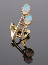 Unique Vintage 1.4CTW Fire Opal and 0.08CTW Diamond 14K Gold  Ring, 5.3g Sz 4.5