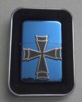 Benzin Feuerzeug mit Emblem Doppeltes Kreuz in Blechdose 354