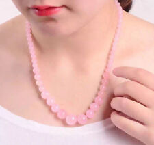 Fashion Women's Natural 6-14mm Pink Jade Round Beads Necklace 17.5'' JN1639