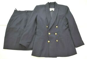 Kasper ASL Petite Womens Double Breasted Blazer A-Line Pleated Skirt Suit 6