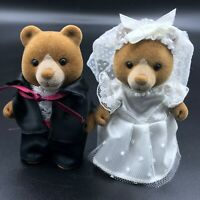 Calico Critters Sylvanian Families Vintage Marmalade Bear Bride and Groom HEDGES
