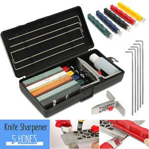 Fix-Angle Knife Sharpener Professional Kitchen Sharpening System + 5 Whetstone