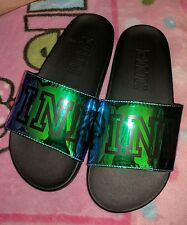 VICTORIA'S SECRET VS PINK NEWEST 2017 METALLIC SLIDES /FLIP FLOPS NWOT SMALL 5-6