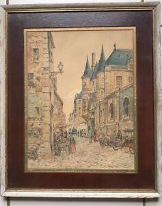 PARIS STREET SCENE, VINTAGE  HAND TINTED ENGRAVING / ETCHING