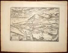 carte geographique ville de PEZARO PESARO en ITALIE par BRAUN et HOGENBERG 1580