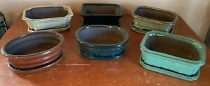 """7"""" Glazed Ceramic Bonsai Pot w/attached tray in a Variety of Styles & Colors"""