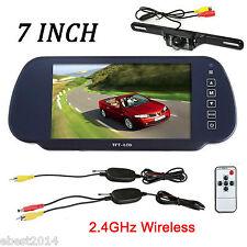 "7"" LCD Mirror Monitor +Wireless Car Reverse Rear View Backup Camera Night Vision"