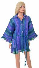 Vintage Alpaca Wool CAFTAN Jacket Fringe Poncho Woven Wool Hippy Boho Sweater