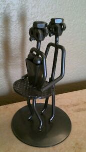 """Ballerina in Tutu with Male Ballet Nuts & Bolts Sculpture Metal 7.5"""" tall"""