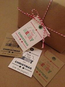 18 personalised vintage/retro/rustic christmas tags merry little christmas