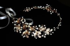Bridal Gold Olive leaves Pearl Hair Vine Crown Forehead Headband Headpiece Tiara