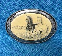 Vintage Barlow Belt Buckle - Running Horses - Scrimshaw Style Buckle......PCB061
