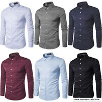 Mens Long Sleeve Multiple Solid Color White Button Down Slim Fit Dress Shirt Top