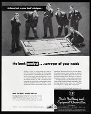 1948 Vintage Print Ad 40's BANK building equipment corporation blueprint image