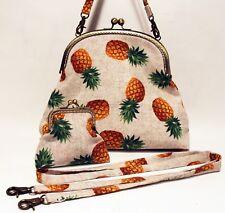 Pineapple print Handmade Handbag &  Purse set - funky retro print fabric bag