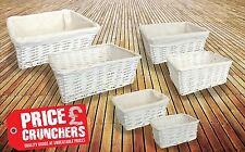 White Wicker Storage Basket Gift Hamper Set Easter Lining Small Medium Large
