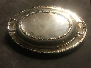 BERWICK Wm A ROGERS 7990 2 PIECE COVERED SERVING DISH SILVERPLATE OVAL