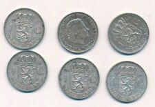 Niederlande 6 x 1 Gulden  Juliane 1955 - 57, Silber