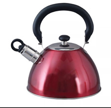 Stainless Steel Whistling Tea Kettle Silver Teapot Cookware StoveTop 1.8-Q,Red