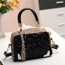 Women Black Leopard Handbag Bling Sequins Tote Purse PU Leather Fashionable Bag