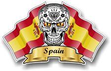 Mexican Sugar Skull & SPAGNA bandiere Spagnola VINILE CAR Casco Adesivo Decalcomania