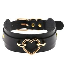 Fashion Punk Gothic Wide PU Leather Heart Collar Choker Buckle Necklace Women