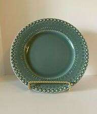 "Round Blue Green Serving Platter Dinner Plate 11"" in Diameter Portugal Made"
