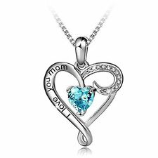 Mothers Day Gift Pendant Heart Necklace Chain Jewelry Luxury Sterling Crystal