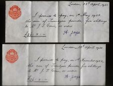 1921 LONDON, TWO MANUSCRIPT BANKING CHEQUES, ONE SHILLING IMP. REVENUES, A. JAYS