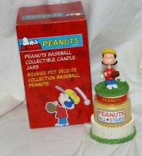 Peanuts Baseball Lucy Collectible Ceramic Candle Jar ~ Avon~