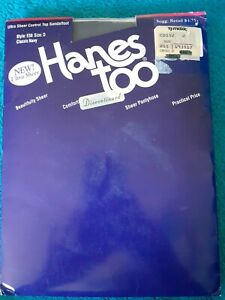 Hanes Too Ultra Sheer Control Top Sandalfoot Navy size D