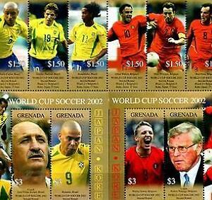 GRENADA 2002 WORLD SOCCER CUP  2nd Round BRAZIL/BELGIUM  MNH S/L6 + 2 MS [#1126]