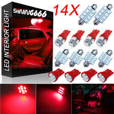 14x Red LED Interior Package Kit For T10 31mm 41mm 578 Dome Map License Lights