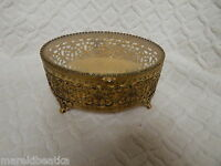 VTG GOLD GILT FILIGREE ORMOLU OVAL JEWELRY BOX, CASKET, VANITY BOX