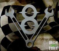 FLAMING TURD Funny Metal Car Emblem Badge Garage Wall Art Rat Rod Sign RH