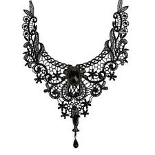 Popular Luxury Women Sexy Black Crystal Gem Lace Beads Choker Necklace Jewelry