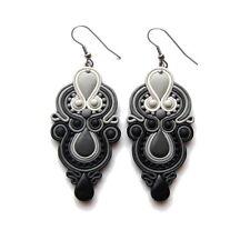 Black and White Chandelier Earrings Big Huge Large Elegant Evening Drop Earrings