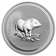 2007 Australian Lunar Year of the Pig 1 oz. Silver Coin Series 1