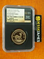 2018 SOUTH AFRICA 1/2 OZ GOLD KRUGERRAND NGC PF70 FIRST DAY OF ISSUE TUMI SIGNED