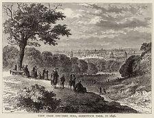 London Greenwich Park One Tree Hill 1880s Antico pronto montato Incisione SUPERBA