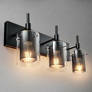 Modern Vanity Bathroom Wall Light Sconce Glass Metal Mesh 1/2/3 Light Fixture